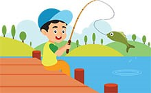 smiling happy child catches a fish in lake clipart